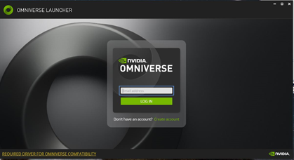 Omniverse Login Screen